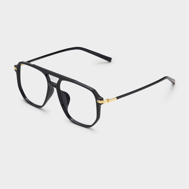 Black with gold temples