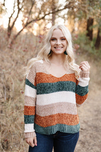 Fall With Us Striped Chenille Sweater