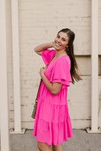 Load image into Gallery viewer, Pink Tiered V-Neck Dress