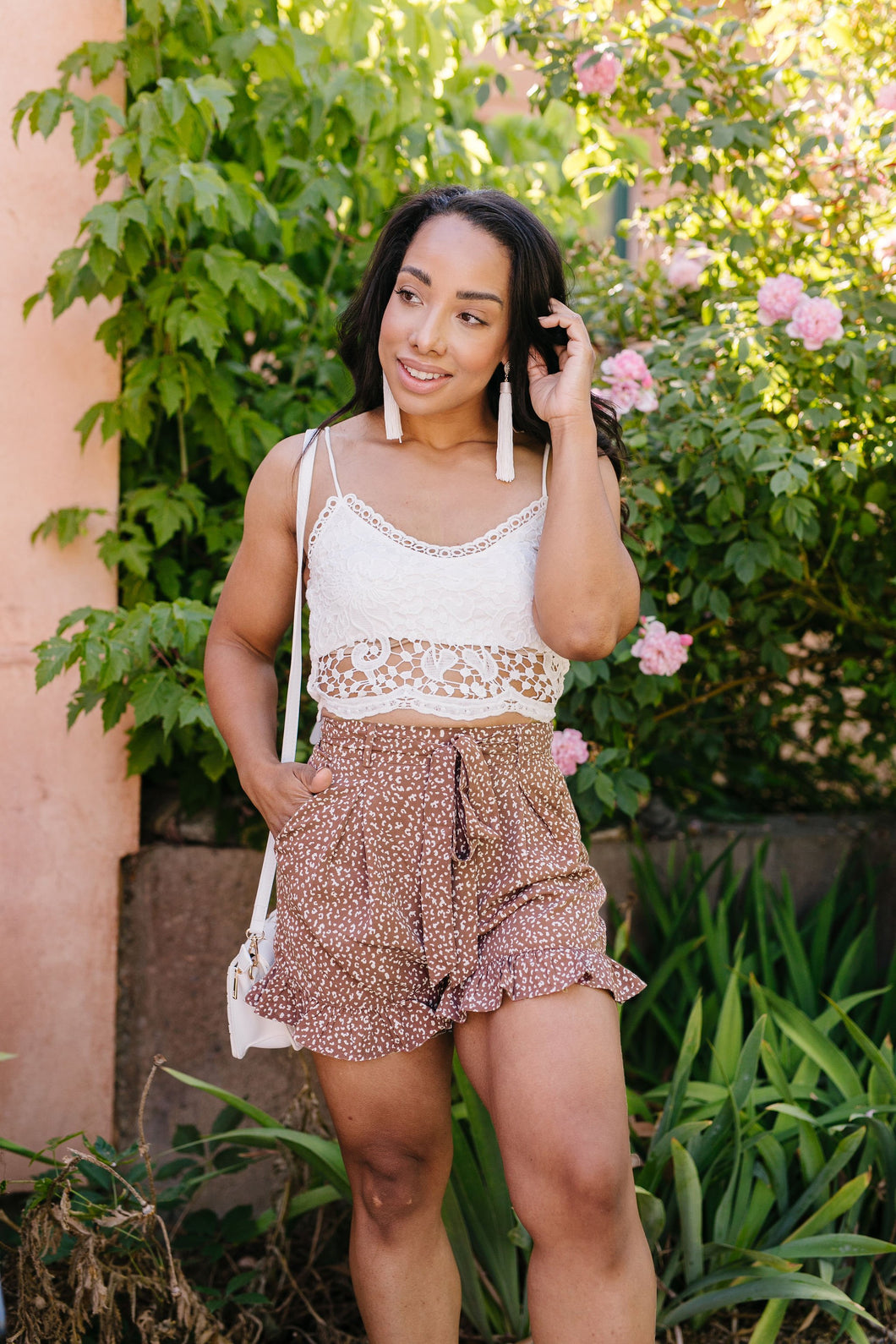Short Leash Ruffled Shorts In Mauve