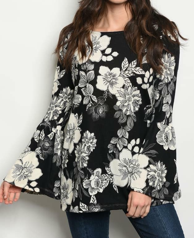 Cheny Floral Bell Sleeve Top