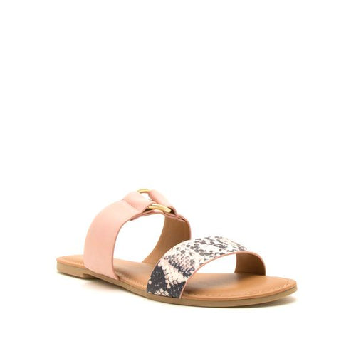 Double Time Sandals in Snake Print + Blush Pink