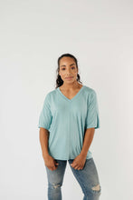 Load image into Gallery viewer, Top Stitch V-Neck In Aqua