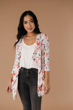 Load image into Gallery viewer, Blossoms On Subtle Stripes Cardigan In Pink