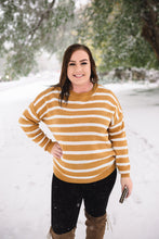 Load image into Gallery viewer, Don't Let The Sun Go Down On Me Mustard Striped Sweater