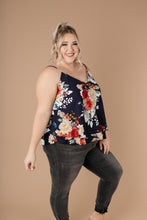 Load image into Gallery viewer, Elegant Floral Camisole In Navy
