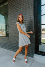 Load image into Gallery viewer, Gray Day Ruffled Yoke Dress