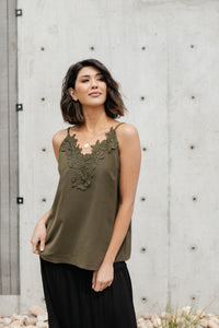 Lace Applique Camisole In Olive