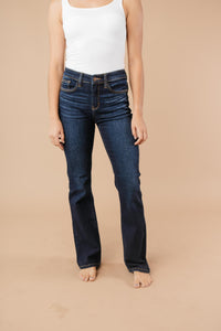 Whiskered Dark Wash Boot Cut Jeans