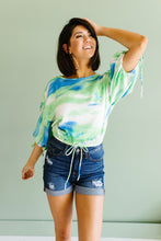 Load image into Gallery viewer, Bishop Sleeve Boho Crop Top In Turquoise & Mint
