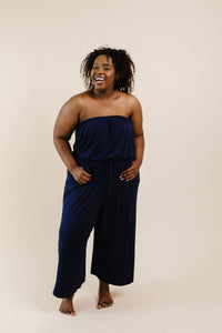 Cropped Tube Top Jumpsuit In Navy