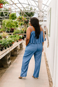 Crosshatch Jumpsuit in Denim