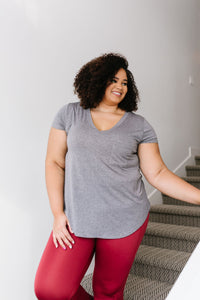 Everyday Yay V-Neck Tee In Heather Gray