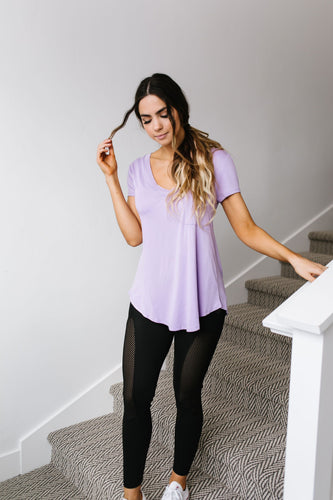 Everyday Yay V-Neck Tee In Lavender
