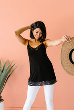 Load image into Gallery viewer, Lace Trimmed Knit Cami In Black