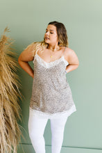 Load image into Gallery viewer, Lace Trimmed Knit Cami In Leopard