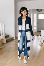 Load image into Gallery viewer, Navy & White Long Striped Cardigan