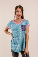 Load image into Gallery viewer, Paisley Block Party Top In Teal