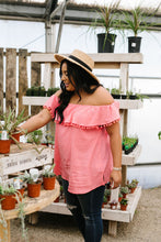 Load image into Gallery viewer, Penelope Pom Pom Off Shoulder Top In Watermelon