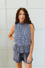 Load image into Gallery viewer, Roxanne Mock Neck Blouse In Navy