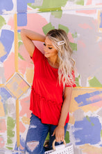 Load image into Gallery viewer, Ruffled Peplum Top In Red