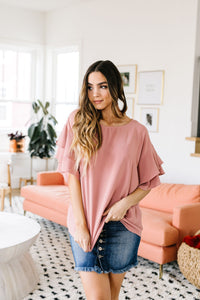 Ruth Ruffled Sleeve Top In Mauve
