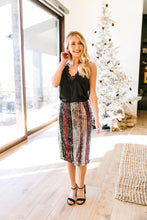 Load image into Gallery viewer, Sequin Kaleidoscope Striped Pencil Skirt