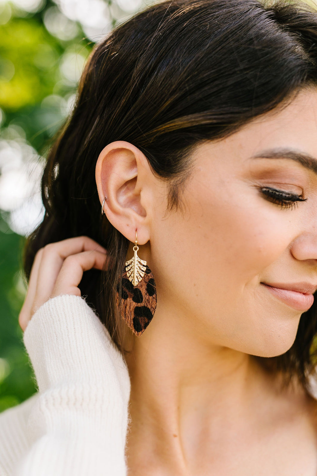 Spotted Furry Leaf Earrings