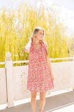 Load image into Gallery viewer, Spotted Rosette Dress In Red Coral