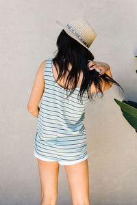 Stripe On All Summer Long Tank In Mint