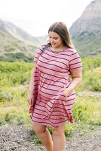 Load image into Gallery viewer, Stripey Babydoll Dress In Mauve