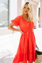 Load image into Gallery viewer, Summer Fling Coral Midi Dress
