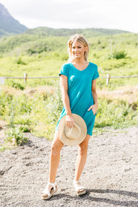 Summer Swing V-Neck Dress In Jade