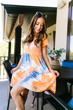 Load image into Gallery viewer, Tiered Tie Dye Dress In Orange & Blue