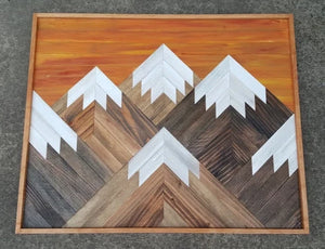 Large Reclaimed Wood Mountain Range with Sunset Sky