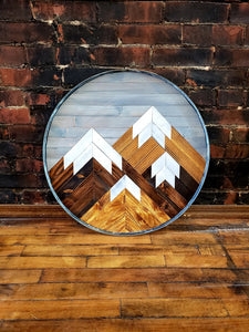 Reclaimed Wood Round Mountain Range with Grey Sky