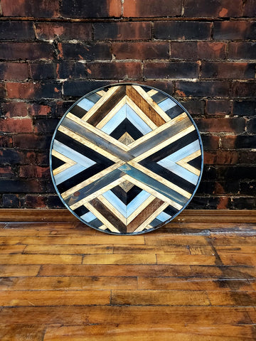 Round Geomtric Art with Antique Wine Barrel Frame 3