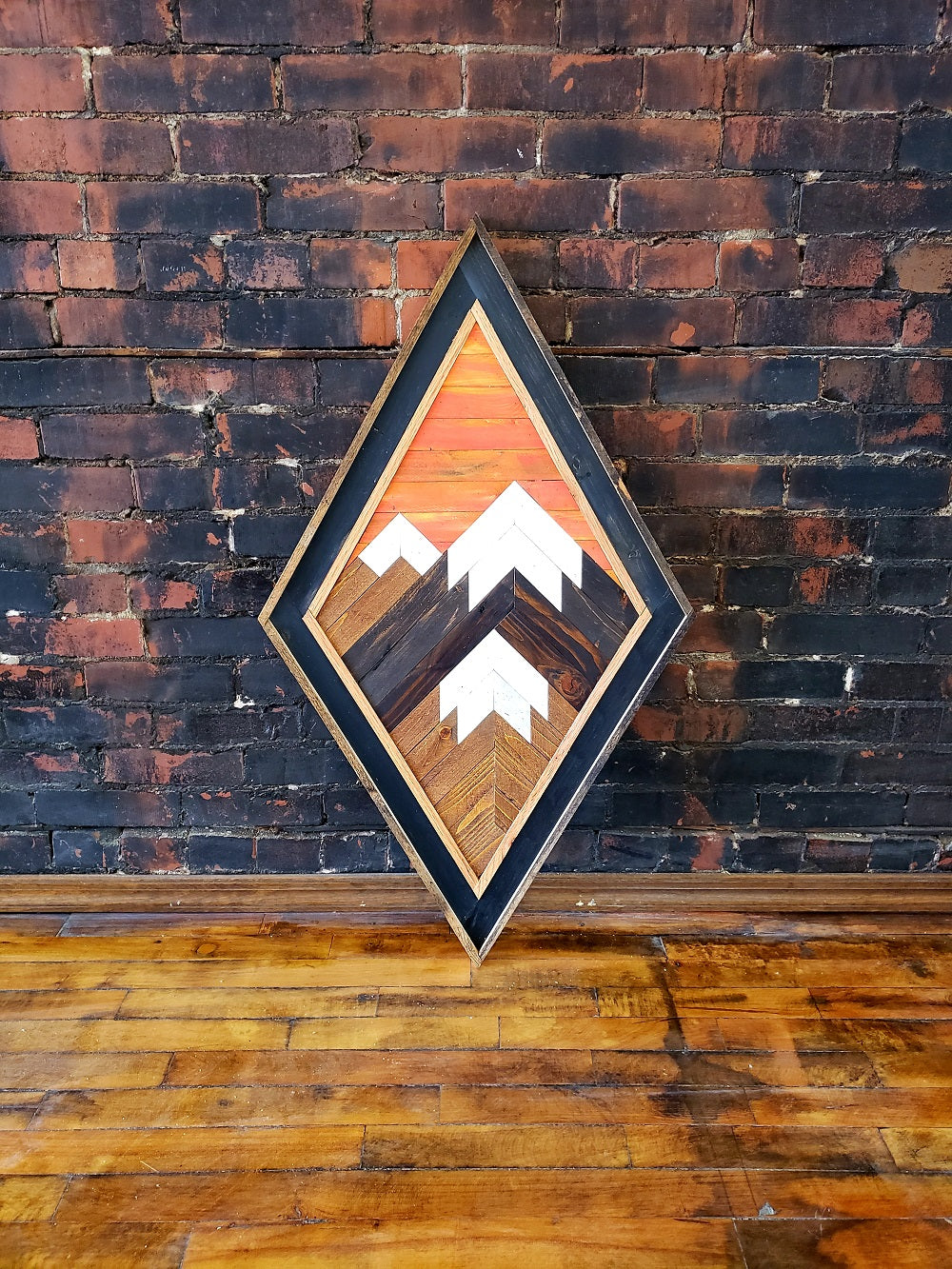 Large Diamond Reclaimed Wood Mountain Range with Sunset Sky