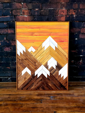 Reclaimed Wood Vertical Mountain Range with Sunset Sky