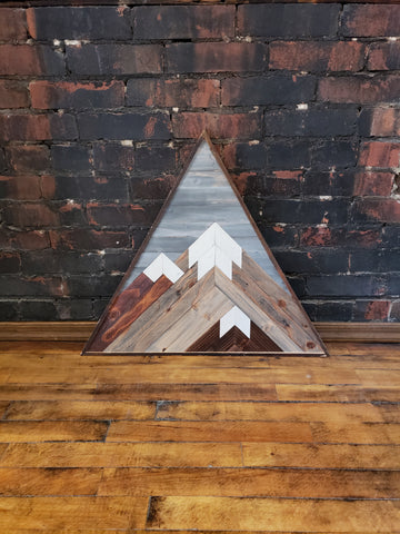 Large Triangle Reclaimed Wood Mountain Range with Grey Sky