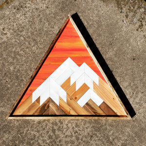 Large Triangle Reclaimed Wood Mountain Range with Sunset Sky
