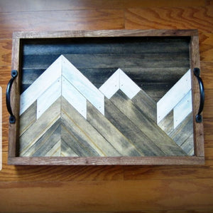 Mountain Range Reclaimed Wood Serving Tray