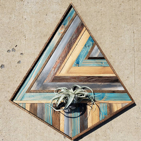 Large Reclaimed Wood Air Plant Holder Blue