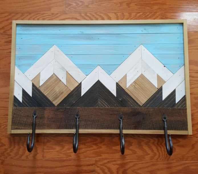Reclaimed Wood Mountain Range with Handmade Hooks
