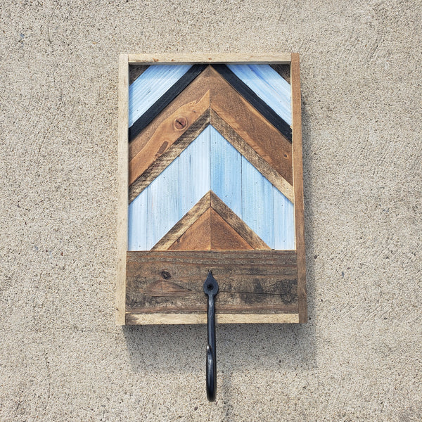 Reclaimed Wood Art with Wrought Iron Hook