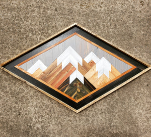Large Diamond Reclaimed Wood Mountain Range with Grey Sky