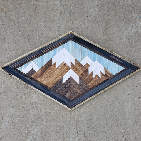 Large Diamond Reclaimed Wood Mountain Range with Blue Sky