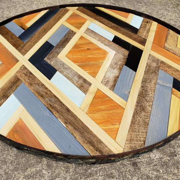 Round Geomtric Art with Antique Wine Barrel Frame 2