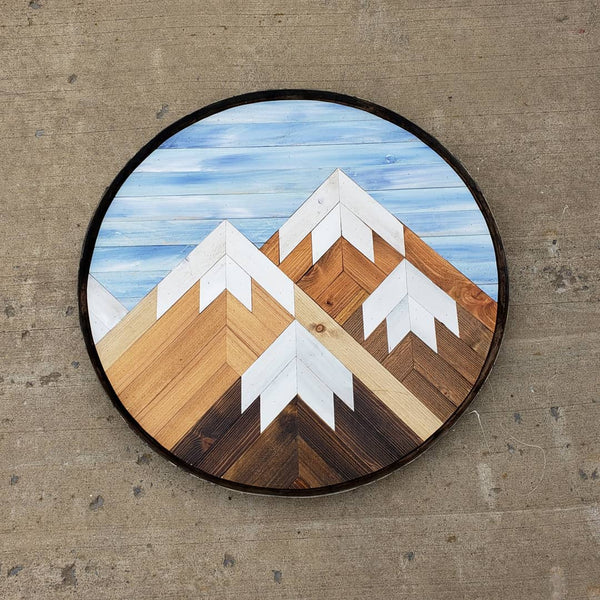 Reclaimed Wood Round Mountain Range with Blue Sky