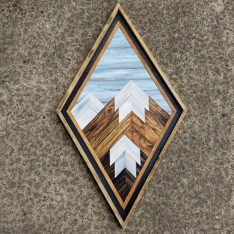 Medium Diamond Reclaimed Wood Mountain Range with Blue Sky